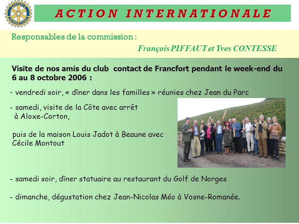 A C T I O N I N T E R N A T I O N A L E Responsables de la commission : François PIFFAUT et Yves CONTESSE Visite de nos amis du club contact de Francf