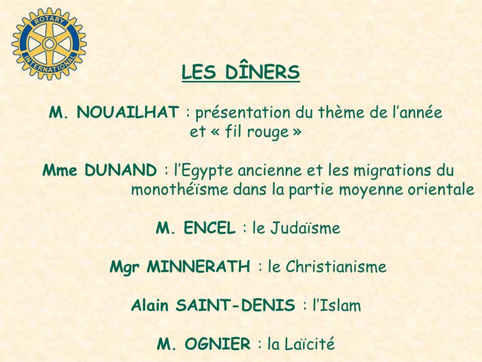 LES DÎNERS M. NOUAILHAT : présentation du thème de lannée et « fil rouge » Mme DUNAND : lEgypte ancienne et les migrations du monothéïsme dans la part