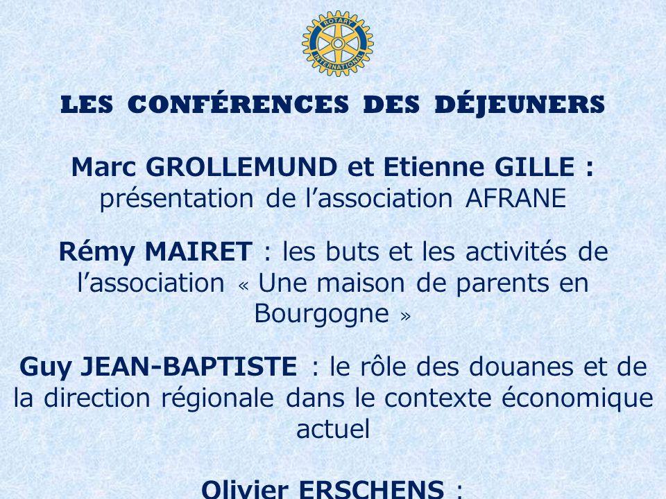 LES CONFÉRENCES DES DÉJEUNERS Marc GROLLEMUND et Etienne GILLE : présentation de lassociation AFRANE Rémy MAIRET : les buts et les activités de lassoc