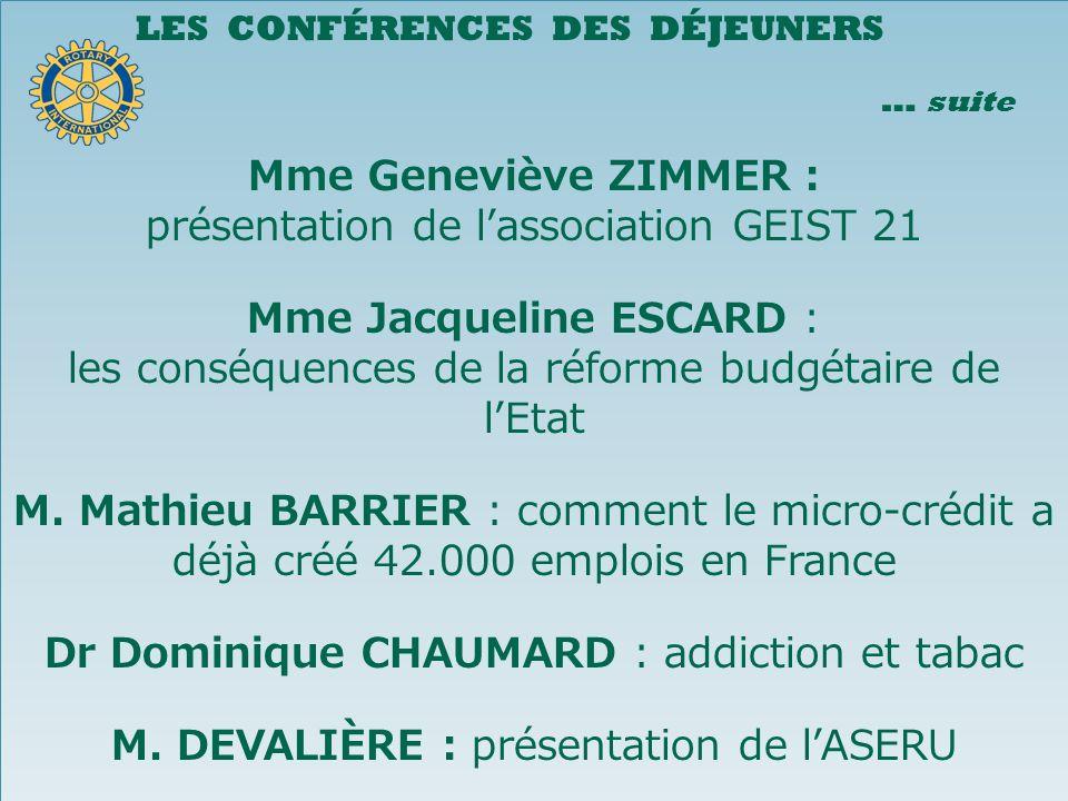 LES CONFÉRENCES DES DÉJEUNERS … suite Mme Geneviève ZIMMER : présentation de lassociation GEIST 21 Mme Jacqueline ESCARD : les conséquences de la réforme budgétaire de lEtat M.