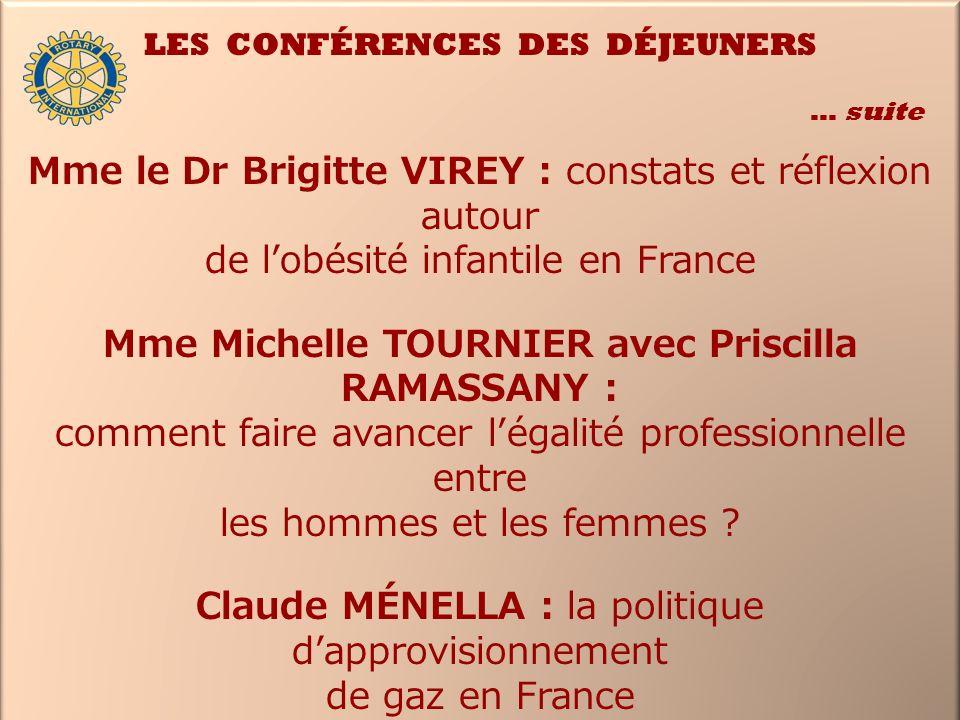 LES CONFÉRENCES DES DÉJEUNERS … suite Mme le Dr Brigitte VIREY : constats et réflexion autour de lobésité infantile en France Mme Michelle TOURNIER av