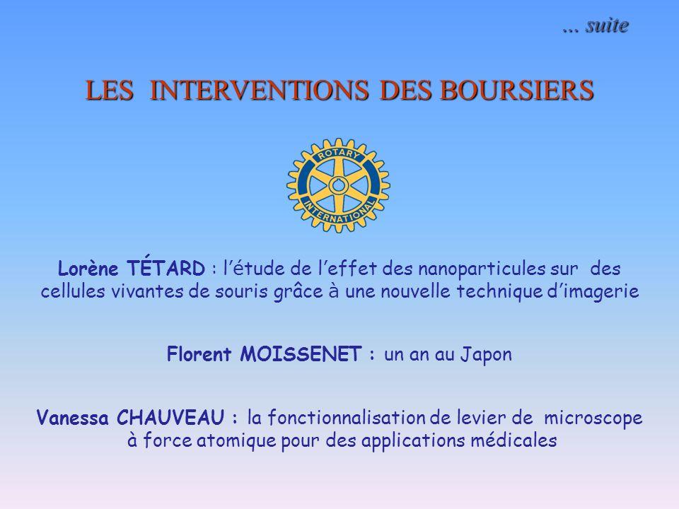 … suite … suite LES INTERVENTIONS DES BOURSIERS Lorène TÉTARD : l é tude de l effet des nanoparticules sur des cellules vivantes de souris grâce à une
