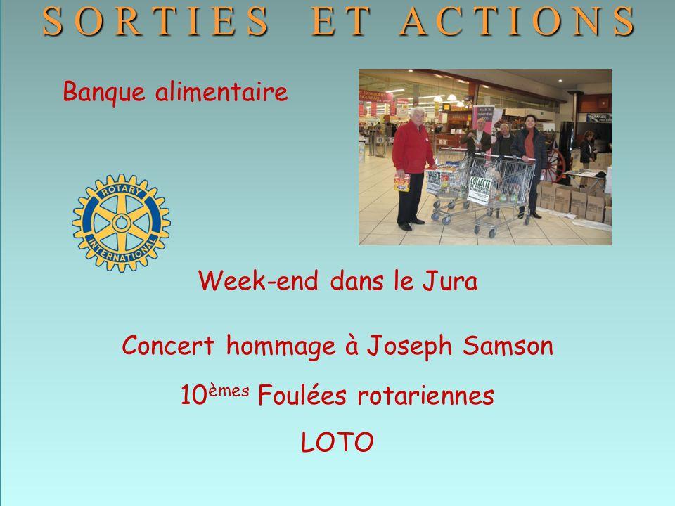 S O R T I E S E T A C T I O N S Banque alimentaire Week-end dans le Jura Concert hommage à Joseph Samson 10 èmes Foulées rotariennes LOTO S O R T I E