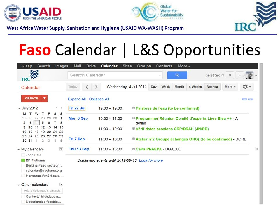 Faso Calendar | L&S Opportunities West Africa Water Supply, Sanitation and Hygiene (USAID WA-WASH) Program