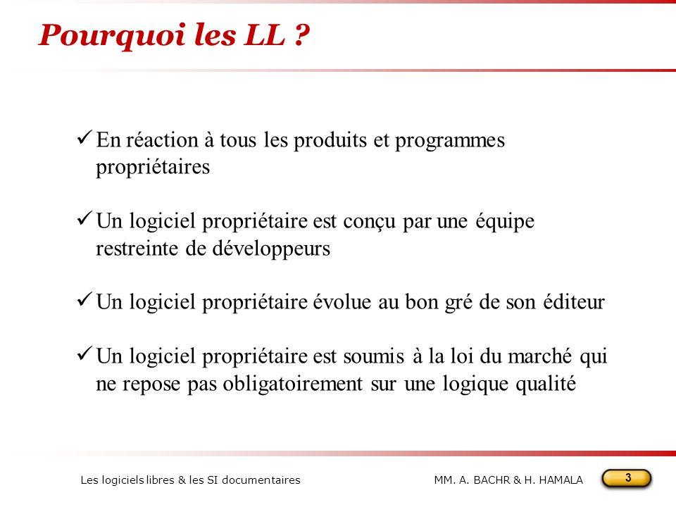 3 MM.A. BACHR & H. HAMALALes logiciels libres & les SI documentaires Pourquoi les LL .
