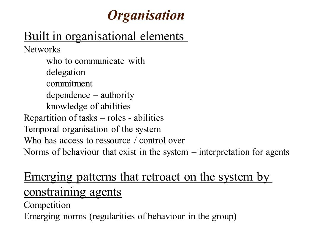 Organisation Built in organisational elements Networks who to communicate with delegation commitment dependence – authority knowledge of abilities Repartition of tasks – roles - abilities Temporal organisation of the system Who has access to ressource / control over Norms of behaviour that exist in the system – interpretation for agents Emerging patterns that retroact on the system by constraining agents Competition Emerging norms (regularities of behaviour in the group)