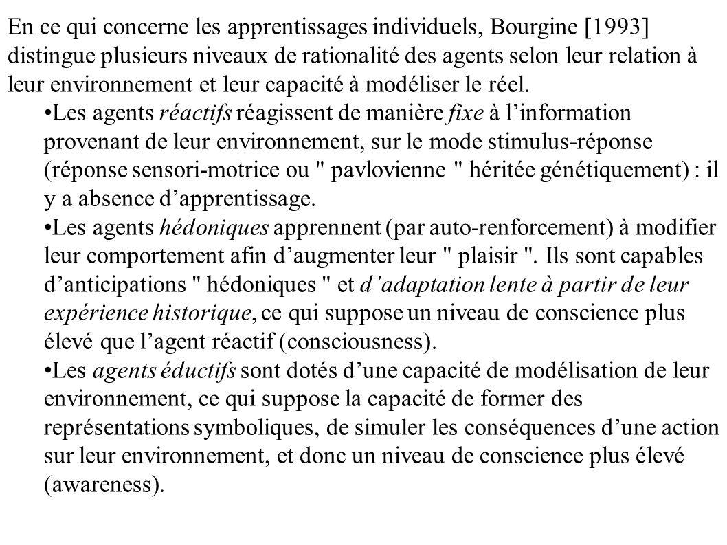 En ce qui concerne les apprentissages individuels, Bourgine [1993] distingue plusieurs niveaux de rationalité des agents selon leur relation à leur en