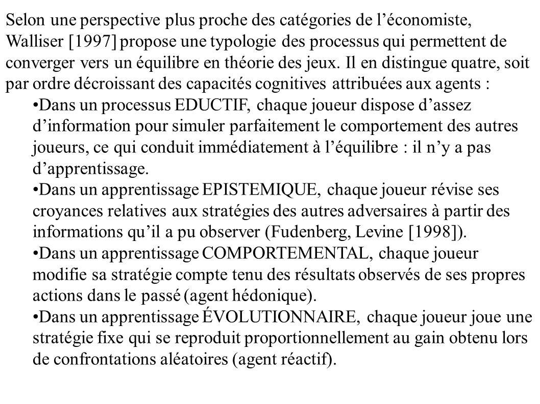 Selon une perspective plus proche des catégories de léconomiste, Walliser [1997] propose une typologie des processus qui permettent de converger vers