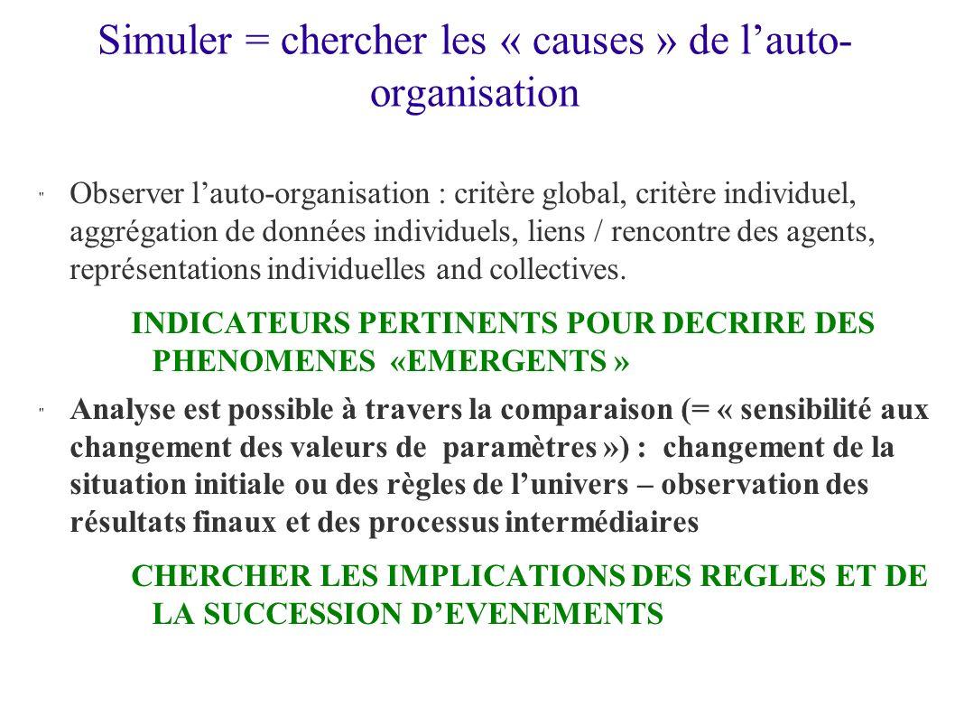 Simuler = chercher les « causes » de lauto- organisation