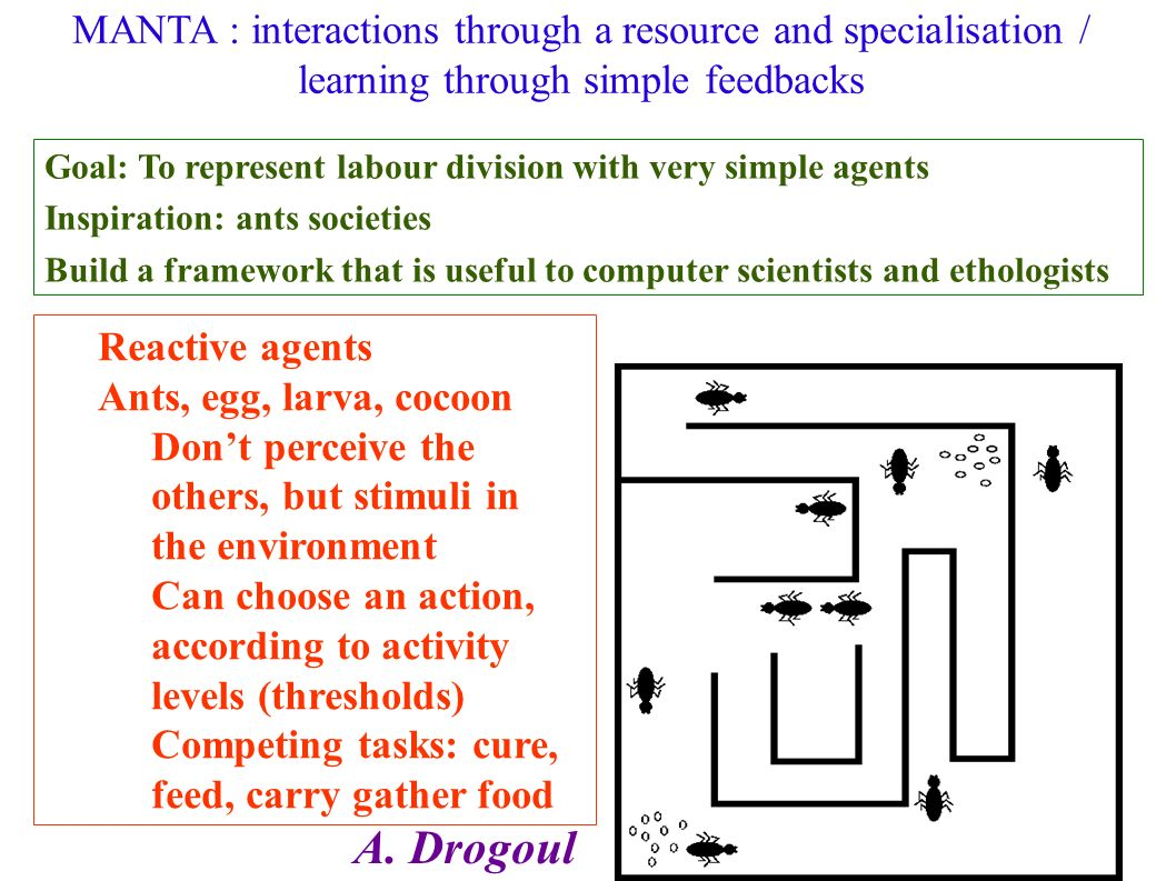 Methods to have agents evolve Reinforcement learning Utility function > evaluate results and classify them Learning / memory capacity / Change of behavior rules Comparison and copy of others methods Information diffusion or behaviour diffusion Choice of relevant agents to copy (trust, network) Mecanisms to adopt behaviours Genetic algorithms (population level – social learning) « fitness » function, reproduction, meeting, mutation