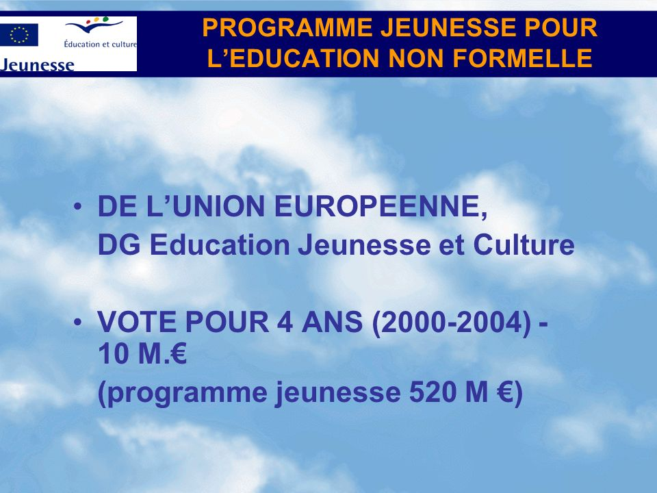 INITIATED BY THE EUROPEAN UNION, Directorate-General for Education and Culture (EAC) BUDGET FOR 4 YEARS (2000-2004) – 10 M.