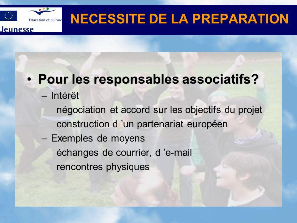 NECESSITE DE LA PREPARATION Pour les responsables associatifs?Pour les responsables associatifs.