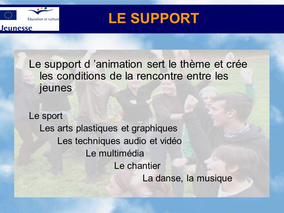 LE SUPPORT Le support d animation sert le thème et crée les conditions de la rencontre entre les jeunes Le sport Les arts plastiques et graphiques Les techniques audio et vidéo Le multimédia Le chantier La danse, la musique