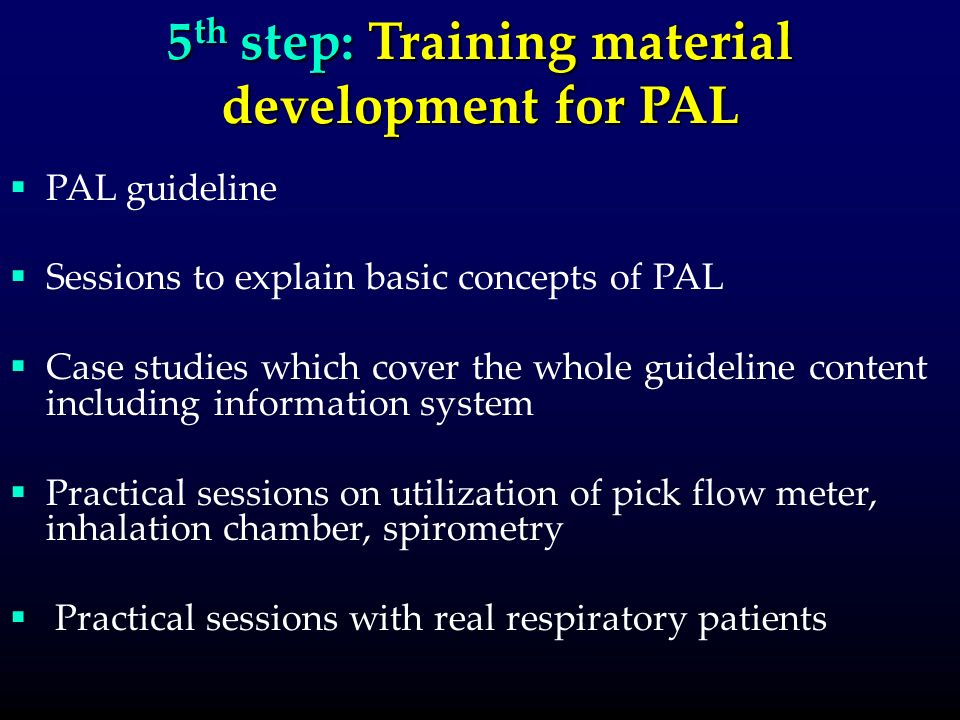 5 th step: Training material development for PAL PAL guideline Sessions to explain basic concepts of PAL Case studies which cover the whole guideline content including information system Practical sessions on utilization of pick flow meter, inhalation chamber, spirometry Practical sessions with real respiratory patients