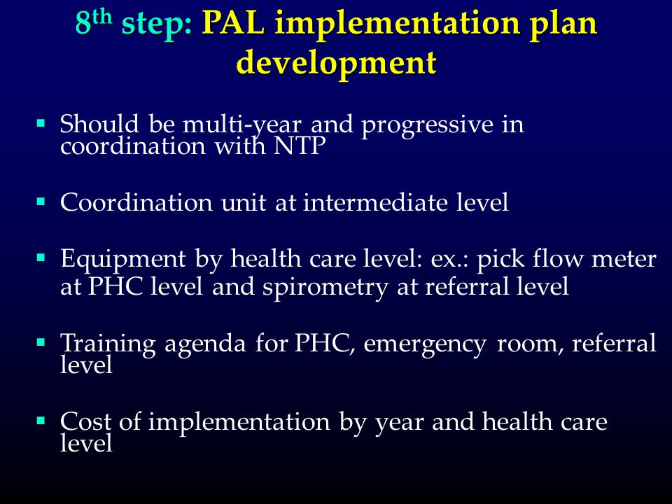 8 th step: PAL implementation plan development Should be multi-year and progressive in coordination with NTP Coordination unit at intermediate level Equipment by health care level: ex.: pick flow meter at PHC level and spirometry at referral level Training agenda for PHC, emergency room, referral level Cost of implementation by year and health care level