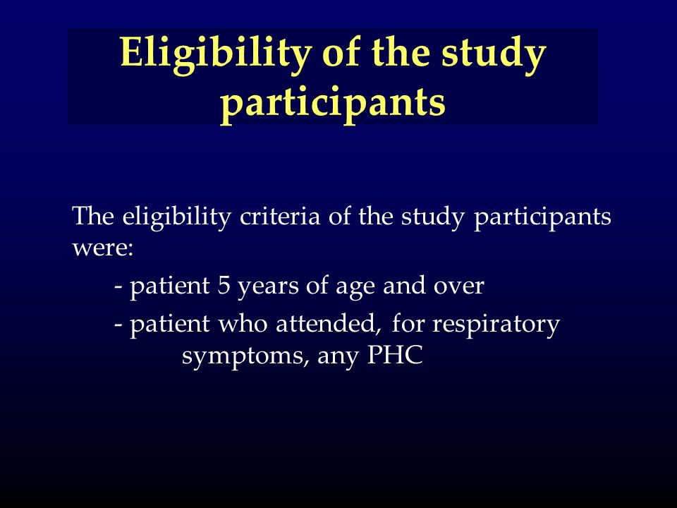 Eligibility of the study participants The eligibility criteria of the study participants were: - patient 5 years of age and over - patient who attended, for respiratory symptoms, any PHC