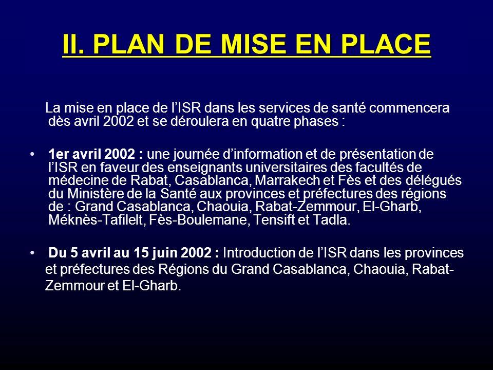 II. PLAN DE MISE EN PLACE La mise en place de lISR dans les services de santé commencera dès avril 2002 et se déroulera en quatre phases : 1er avril 2