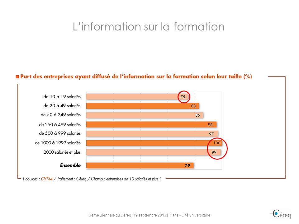 Linformation sur la formation 3ème Biennale du Céreq | 19 septembre 2013 | Paris - Cité universitaire