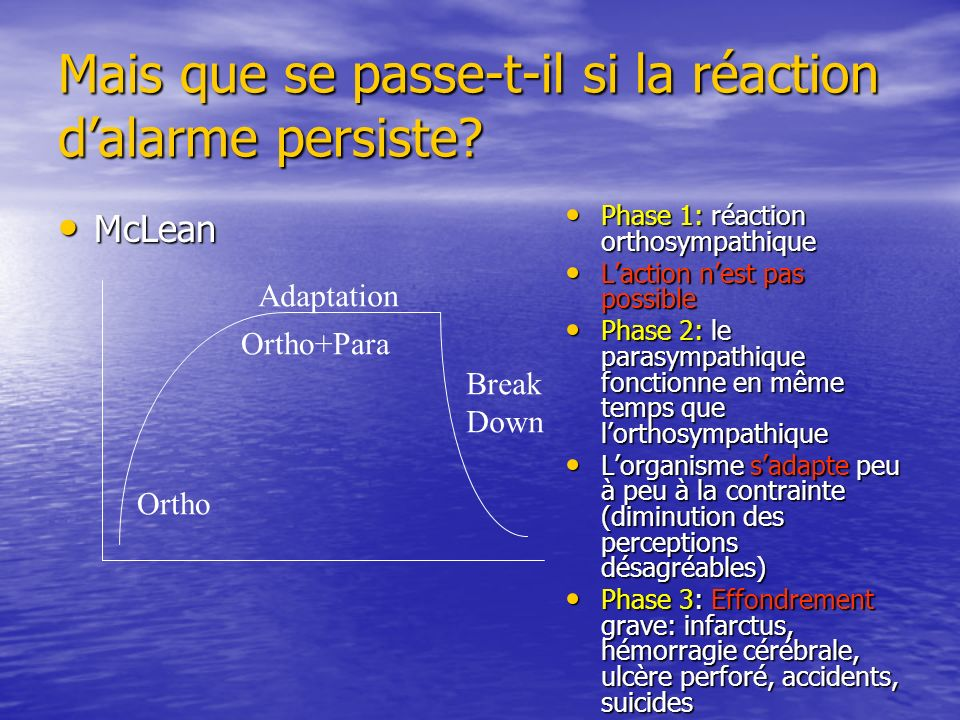 Mais que se passe-t-il si la réaction dalarme persiste? McLean McLean Ortho Adaptation Ortho+Para Break Down Phase 1: réaction orthosympathique Phase