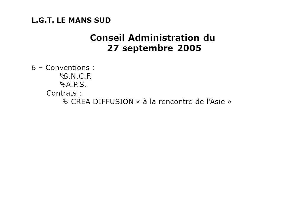 Conseil Administration du 27 septembre 2005 6 – Conventions : S.N.C.F. A.P.S. Contrats : CREA DIFFUSION « à la rencontre de lAsie » L.G.T. LE MANS SUD