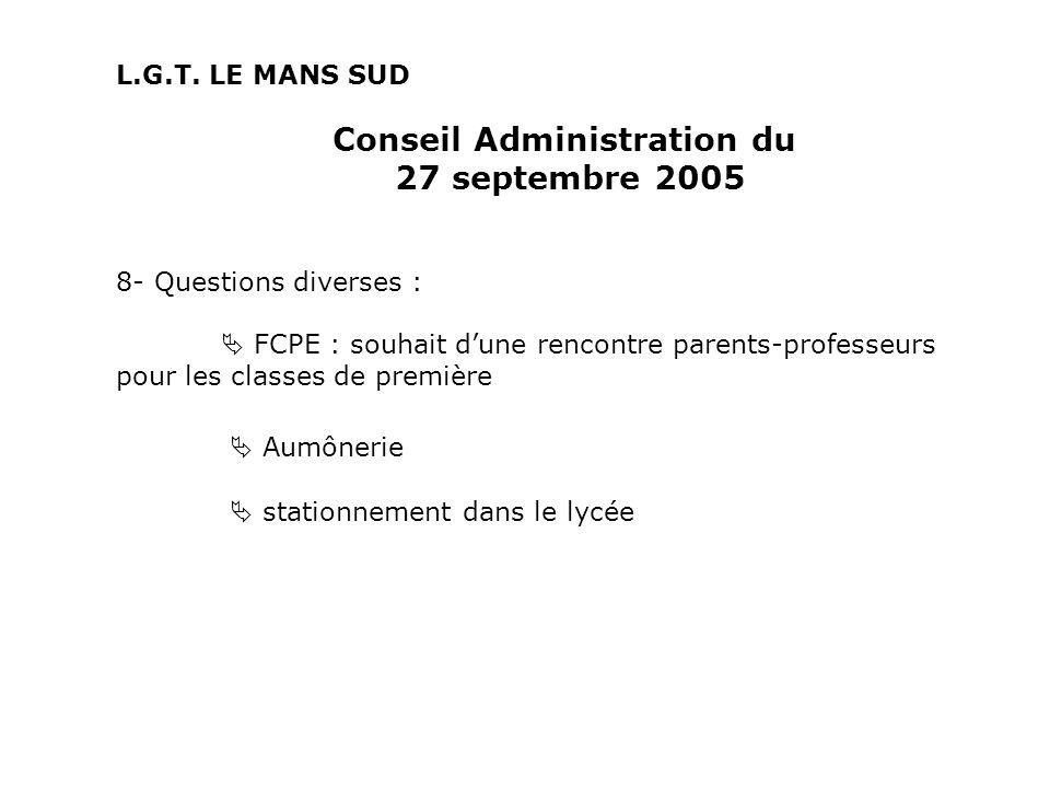 Conseil Administration du 27 septembre 2005 8- Questions diverses : FCPE : souhait dune rencontre parents-professeurs pour les classes de première Aumônerie stationnement dans le lycée L.G.T.