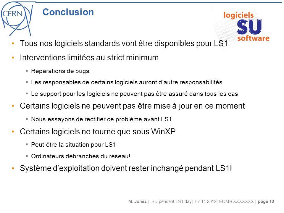 M. Jones | SU pendant LS1 day| 07.11.2012| EDMS XXXXXXX | page 10 Conclusion Tous nos logiciels standards vont être disponibles pour LS1 Interventions