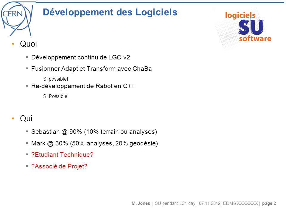 M. Jones | SU pendant LS1 day| 07.11.2012| EDMS XXXXXXX | page 2 Développement des Logiciels Quoi Développement continu de LGC v2 Fusionner Adapt et T
