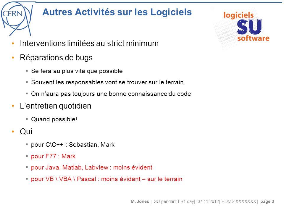 M. Jones | SU pendant LS1 day| 07.11.2012| EDMS XXXXXXX | page 3 Autres Activités sur les Logiciels Interventions limitées au strict minimum Réparatio