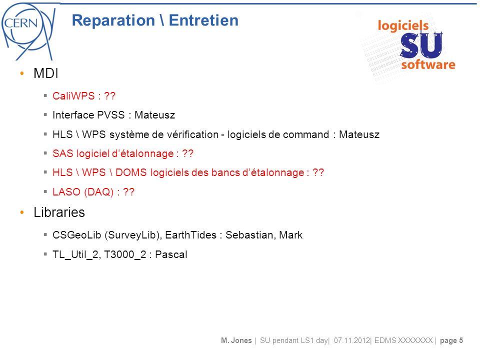 M. Jones | SU pendant LS1 day| 07.11.2012| EDMS XXXXXXX | page 5 Reparation \ Entretien MDI CaliWPS : ?? Interface PVSS : Mateusz HLS \ WPS système de