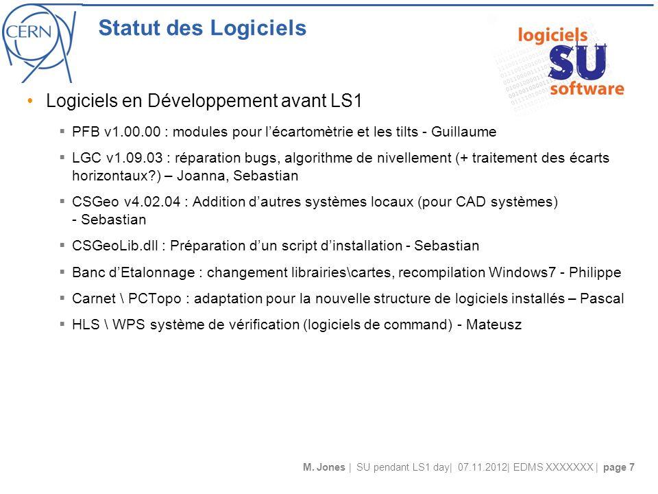 M. Jones | SU pendant LS1 day| 07.11.2012| EDMS XXXXXXX | page 7 Statut des Logiciels Logiciels en Développement avant LS1 PFB v1.00.00 : modules pour