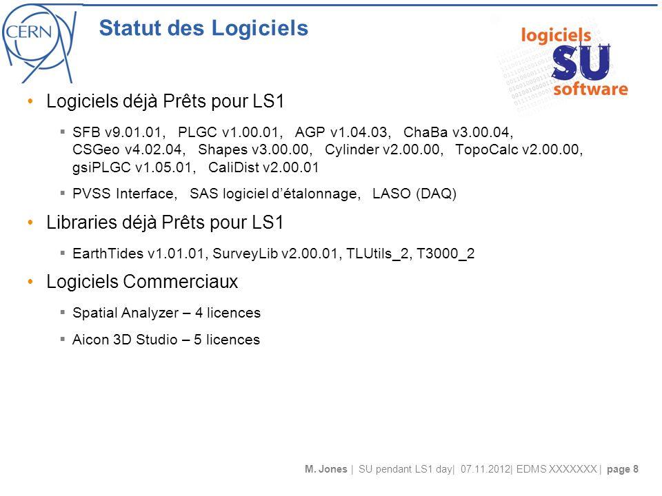 M. Jones | SU pendant LS1 day| 07.11.2012| EDMS XXXXXXX | page 8 Statut des Logiciels Logiciels déjà Prêts pour LS1 SFB v9.01.01, PLGC v1.00.01, AGP v