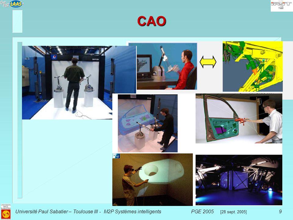 Université Paul Sabatier – Toulouse III - M2P Systèmes intelligentsPGE 2005 [28 sept. 2005] 9 CAO