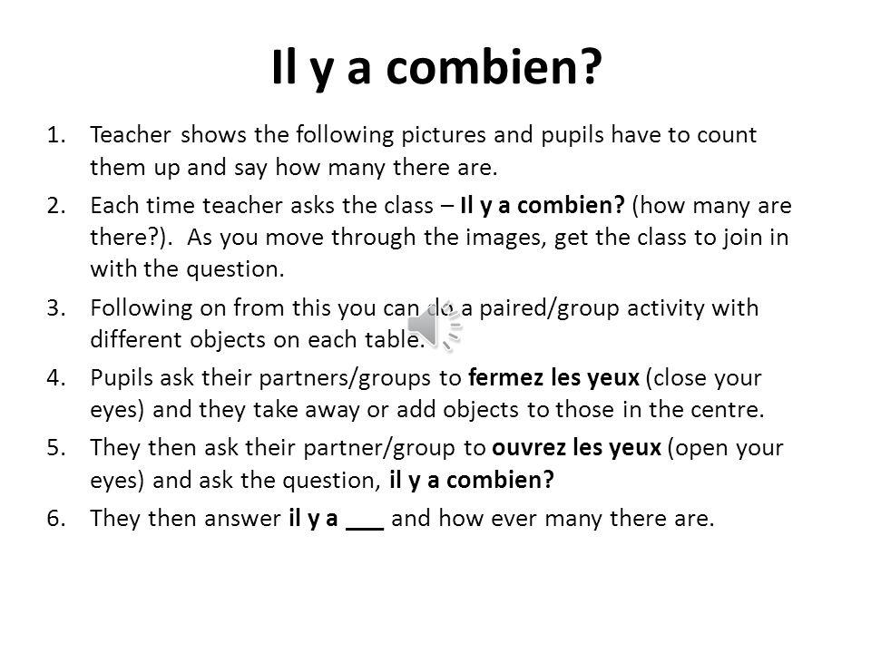 Onze! Formez un cercle au centre de la classe Comptez un, deux ou trois nombres Par exemple… Personne a: 1, 2 Personne b: 3,4,5 Personne c: 6 La perso