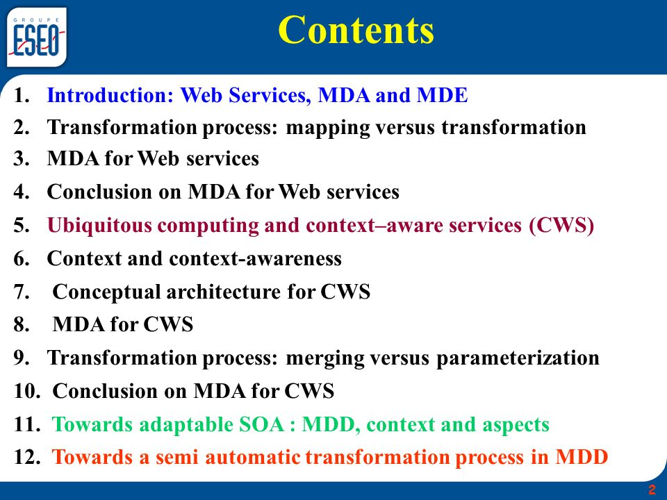 Model Driven Architecture allows the development of services by describing their technology-independent and technology- specific aspects in separate models.