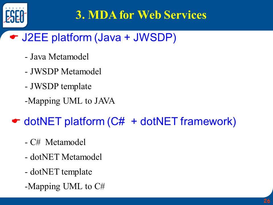 3. MDA for Web Services J2EE platform (Java + JWSDP) dotNET platform (C# + dotNET framework) - Java Metamodel - JWSDP Metamodel - JWSDP template -Mapp
