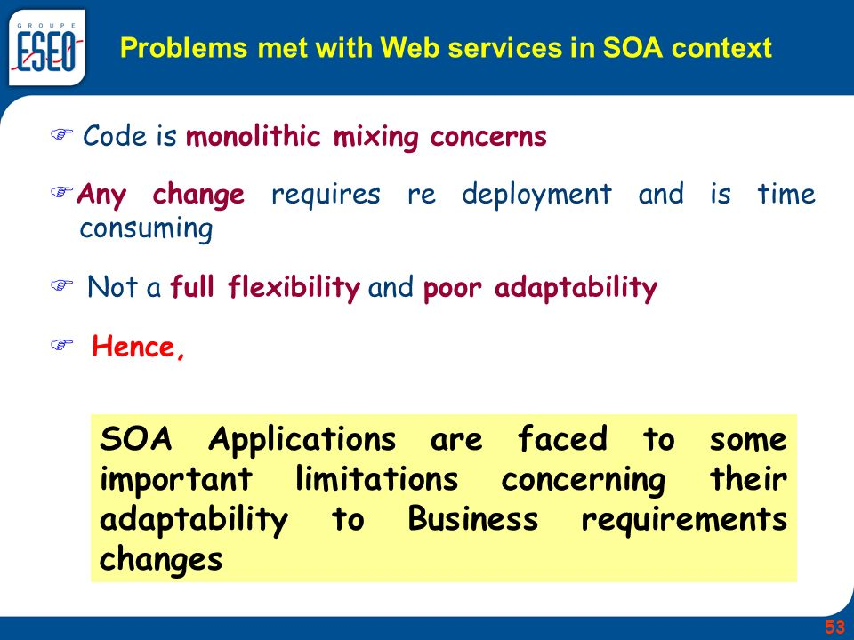 Code is monolithic mixing concerns Any change requires re deployment and is time consuming Not a full flexibility and poor adaptability Hence, SOA Applications are faced to some important limitations concerning their adaptability to Business requirements changes Problems met with Web services in SOA context 53