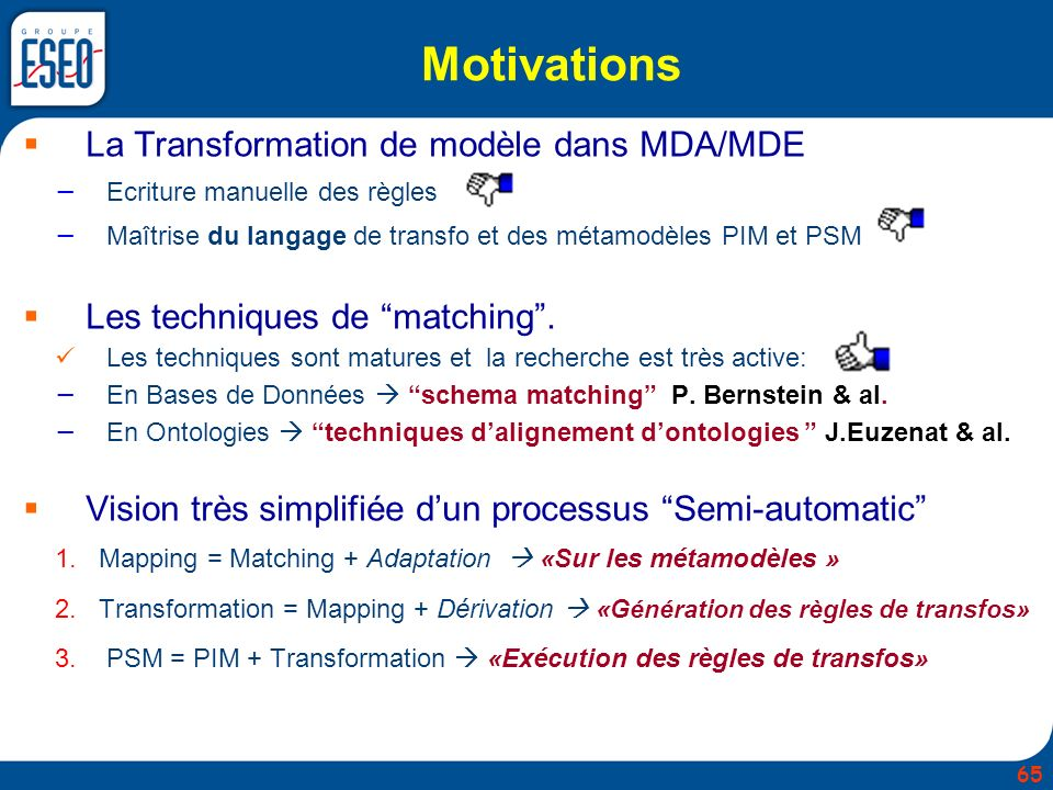 Motivations La Transformation de modèle dans MDA/MDE Ecriture manuelle des règles Maîtrise du langage de transfo et des métamodèles PIM et PSM Les tec