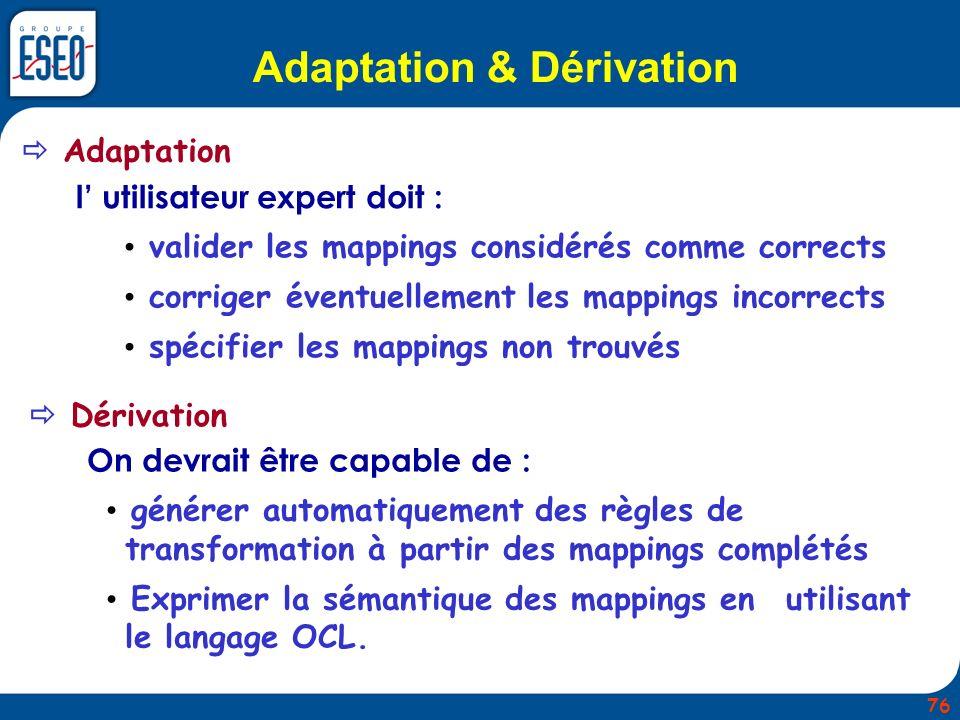 Adaptation & Dérivation Adaptation Dérivation l utilisateur expert doit : valider les mappings considérés comme corrects corriger éventuellement les m