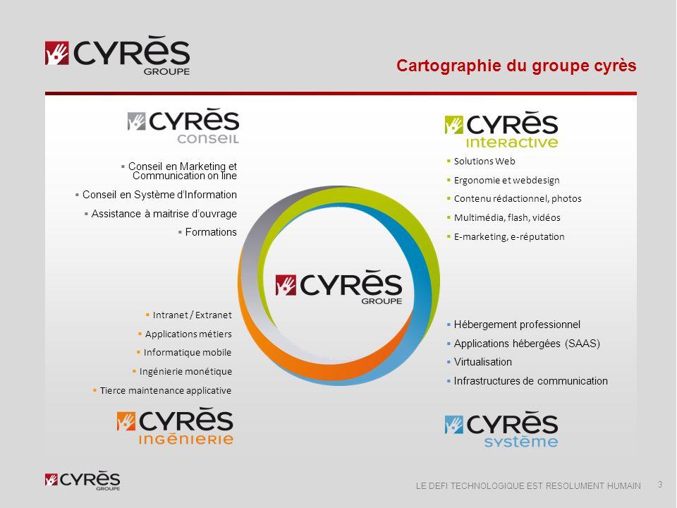 LE DEFI TECHNOLOGIQUE EST RESOLUMENT HUMAIN Chiffres clés… 4 Groupe Cyrès sest hissé parmi les références françaises spécialisées dans la conception, la réalisation, le développement et lexploitation du patrimoine numérique des entreprises.