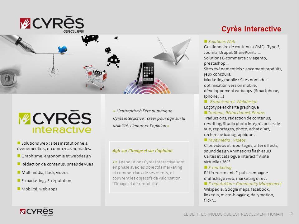 LE DEFI TECHNOLOGIQUE EST RESOLUMENT HUMAIN Groupe Cyrès Léquipe projet pressentie Interactive & Ingénierie 10