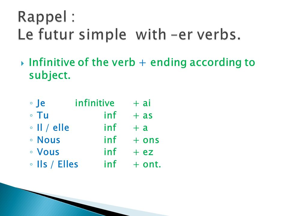 Infinitive of the verb + ending according to subject.