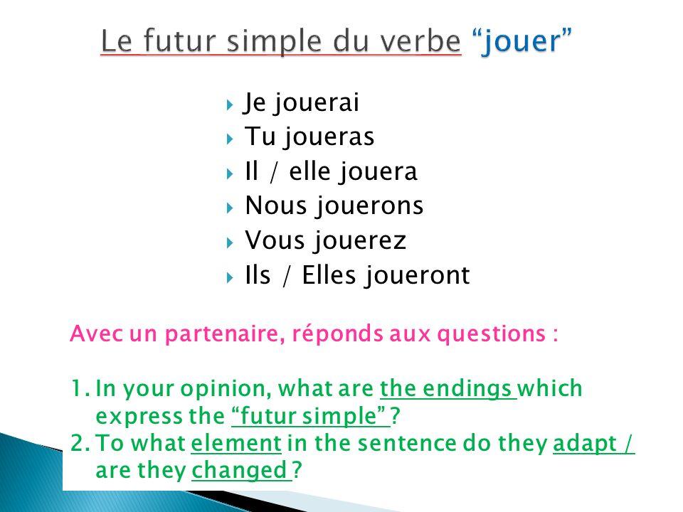 Aller is irregular : Jirais Tu iras Il / elle ira Nous iront Ils iront Vous irez What makes it an irregular verb .