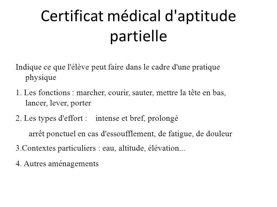 Certificat médical d aptitude partielle Indique ce que l élève peut faire dans le cadre d une pratique physique 1.