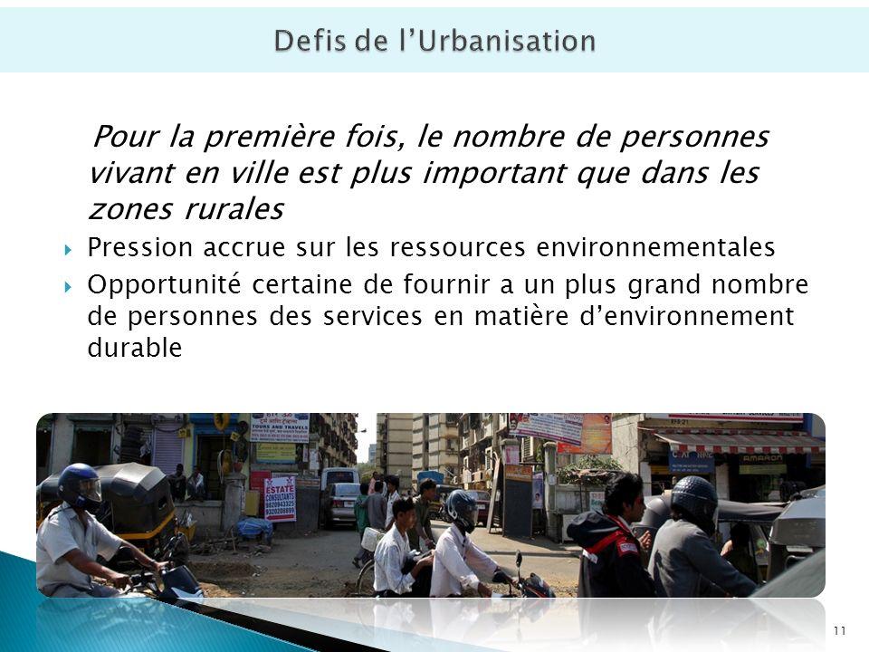 Pour la première fois, le nombre de personnes vivant en ville est plus important que dans les zones rurales Pression accrue sur les ressources environnementales Opportunité certaine de fournir a un plus grand nombre de personnes des services en matière denvironnement durable 11
