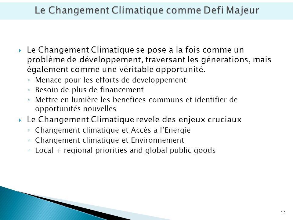 Le Changement Climatique se pose a la fois comme un problème de développement, traversant les génerations, mais également comme une véritable opportunité.