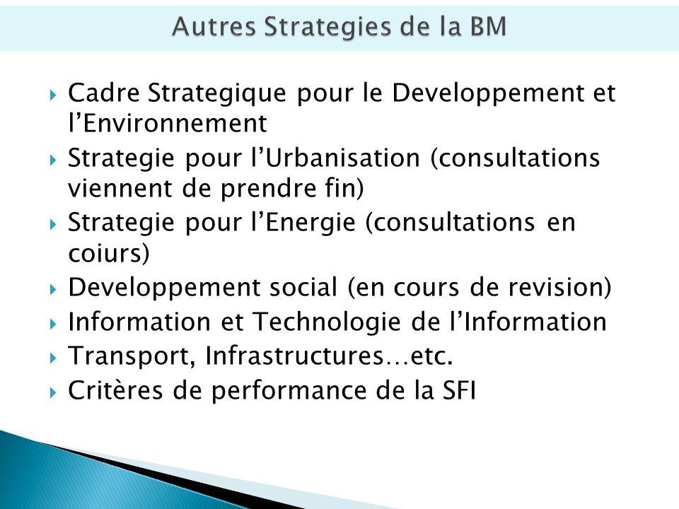 Cadre Strategique pour le Developpement et lEnvironnement Strategie pour lUrbanisation (consultations viennent de prendre fin) Strategie pour lEnergie (consultations en coiurs) Developpement social (en cours de revision) Information et Technologie de lInformation Transport, Infrastructures…etc.