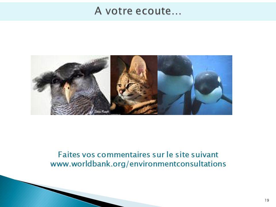 19 Faites vos commentaires sur le site suivant www.worldbank.org/environmentconsultations