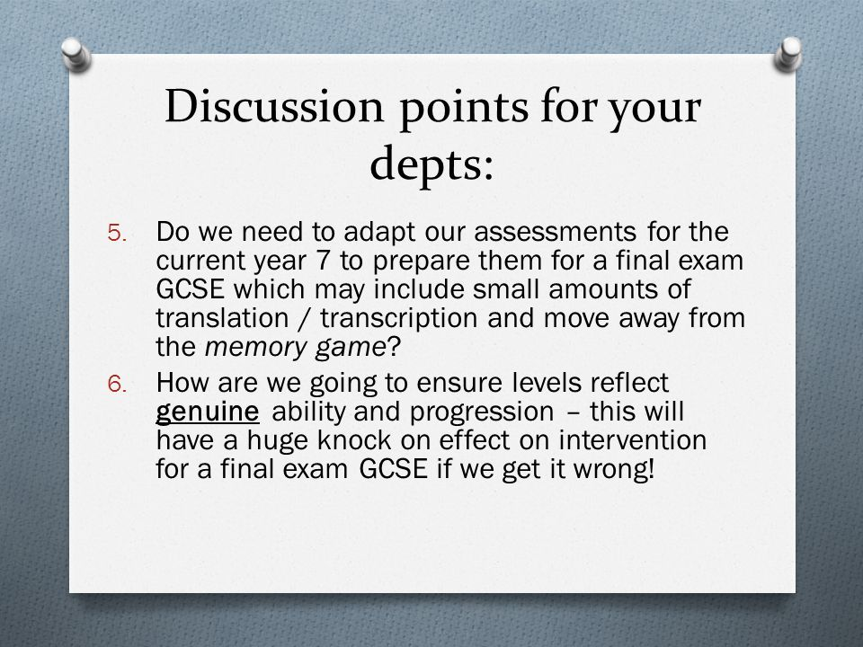 Discussion points for your depts: 5.