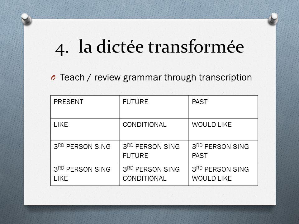 4. la dictée transformée O Teach / review grammar through transcription Je vais au parcJe vais aller au parcJe suis allé au parc Jaime aller au parcJa