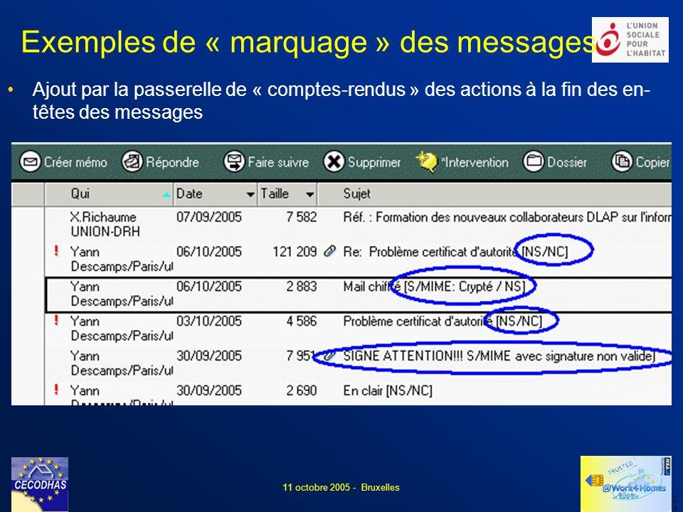 2424 11 octobre 2005 - Bruxelles Exemples de « marquage » des messages Ajout par la passerelle de « comptes-rendus » des actions à la fin des en- têtes des messages